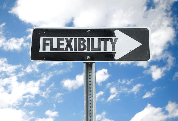 Flexibility direction sign with sky background-1