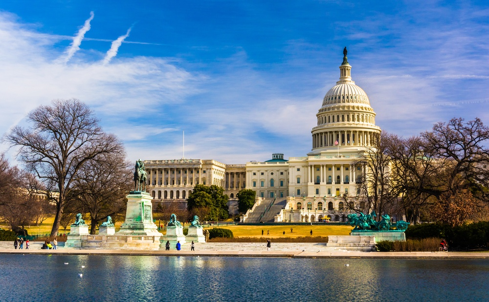 The Capitol and Reflecting Pool in Washington, DC.